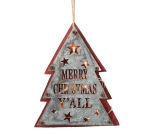 Tree Shaped Rustic Tin & Red Wood Lighted Christmas Ornament 9 Inch from Burton & Burton