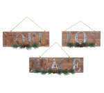Set of 3 Large Holiday Themed Decorative Hanging Wooden Signs (Noel & Joy & Peace) from Burton & Burton