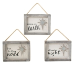 Set of 3 Hand Painted White Wood Hanging Christmas Ornaments (Peace & Joy & Silent Night) from Burton & Burton