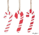 Set of 3 Red & White Striped Ceramic Hanging Candy Cane Ornaments 6.5 Inch from Burton & Burton