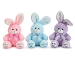 Set of 3 Plush Bunny Rabbits With Bows (Pink Blue Purple) 10.5 Inch from Burton & Burton