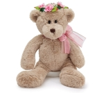 Plush Beige Teddy Bear With Pink Flower Crown & Pink Ribbon Bow 14 Inch from Burton & Burton