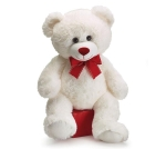 White Valentine Plush Teddy Bear With Red Nose & Ribbon 15 Inch from Burton & Burton