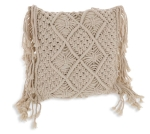 Square Shaped Macrame Decorative Throw Pillow With Fringe 12x12 from Burton & Burton