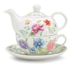 Floral & Butterfly Design Bone China Stacked Tea Pot Set 12 Oz from Burton & Burton
