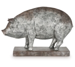 Distressed Silver Color Hand Painted Resin Farm Pig Figurine 12.5 Inch from Burton & Burton