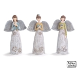 Set of 3 Distressed Colored Resin Angel Figurines 8.25 Inch (Heart Butterfly Flower) from Burton & Burton