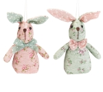 Set of 12 Floral Print Bunny Rabbit Ornaments In Crate 5 Inch from Burton & Burton