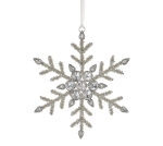 Rhinestone Accent Snowflake Shaped Hanging Christmas Ornament 6.75 Inch from Burton & Burton