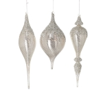 Set of 3 Champagne Large Hand Blown Glass Finial Shape Hanging Christmas Ornaments from Burton & Burton