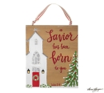 White Church Design A Savior Has Been Born To You Hanging Christmas Ornament 6 Inch from Burton & Burton