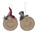 Set of 2 Wood Look Snowmen Heads Hanging Christmas Ornaments 8 Inch x 5.5 Inch from Burton & Burton