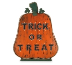 Large Wooden Light Up Pumpkin Figurine Trick Or Treat 29 Inch (Battery Operated) from Burton & Burton
