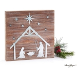 Distressed Look Wood & Tin Nativity Scene Decorative Wall Décor Sign 10.25 Inch from Burton & Burton
