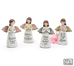 Set of 3 Assorted Hand Painted Angel Figurines (Blessed & Grateful & Pray & Love) from Burton & Burton