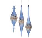 Set of 3 Hand Blown Royal Blue Finial Hanging Christmas Ornaments from Burton & Burton