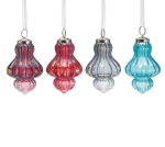 Set of 3 Glass Metallic Jewel Tone Color Finial Hanging Christmas Ornaments from Burton & Burton