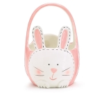 Pink & White Ceramic Bunny Basket Shape Candy Dish from Burton & Burton