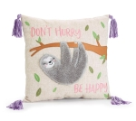 Sloth Design Don't Hurry Be Happy Decorative Throw Pillow 13x13 from Burton & Burton