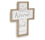 Be Still And Know That I Am God Psalm 46:10 Wooden Wall Cross Hanging 14 Inch from Burton & Burton