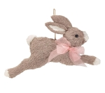 Hanging Gray & White Bunny Rabbit With Pink Ribbon Bow 12.25 Inch from Burton & Burton