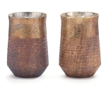 Set of 2 Hand Blown Glass Ribbed Dark & Light Brown Decorative Vases 8 Inch from Burton & Burton