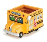 Yellow School Bus Hand Painted Poly Resin Decorative Pot Planter from Burton & Burton