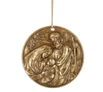 Disc Shaped Gold Foil Finish Holy Family Hanging Christmas Ornament from Burton & Burton