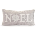 Gray Snowflake Accent Noel Decorative Fabric Throw Pillow 19.5 Inch x 9.5 Inch from Burton & Burton