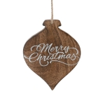 Wooden Finial Shaped Merry Christmas Hanging Christmas Ornament 6 Inch from Burton & Burton