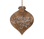 Wooden Finial Shaped Merry Christmas Y'All Hanging Christmas Ornament 5 Inch from Burton & Burton