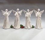 Set of 4 Large Hand Painted Resin Angel Figurines 14 Inch (Flute Harp Violin Mandolin) from Burton & Burton