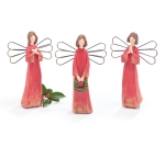 Set of 3 Red Robed Holiday Angel Figurines 8.25 Inch from Burton & Burton