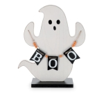Ghost Holding Boo Banner Hand Painted Wooden Figurine 14x12