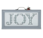 White & Gray Gingham Print Joy Wooden Decorative Holiday Sign 8x14 from Burton & Burton