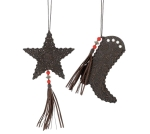 Set of 2 Fabric & Beads Western Cowboy Boot & Star Christmas Oranments from Burton & Burton