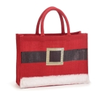 Red Santa Clause Belt & Buckle Burlap Tote Bag from Burton & Burton