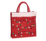 Small Red Christmas Sequin Design Burlap Tote Bag from Burton & Burton