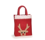 Small Rudolph Reindeer Design Burlap Tote Bag from Burton & Burton