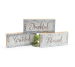 Set of 3 Decorative White Block Wooden Signs (Thankful Grateful Blessed) from Burton & Burton