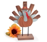 Pilgrim Turkey With Pumpkin Body Hand Painted Wooden Figurine 11.75 Inch from Burton & Burton