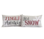 Set of 2 Holiday Themed Decorative Rectangular Throw Pillows from Burton & Burton