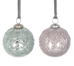 Set of 6 Mint Green & Peach Silver Accent Glass & Brass Christmas Bulb Ornaments 4 Inch