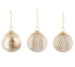 Set of 6 Gold & Silver Crackle Glass Christmas Ornament Bulbs In Box 4 Inch from Burton & Burton