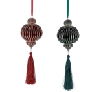 Set of 2 Honeycomb Pattern Burgundy & Green Gold Trim Hanging Christmas Ornaments 10 Inch from Burton & Burton