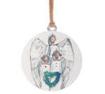 White Round Three Angels With Heart Hanging Tin Christmas Ornament 4.5 Inch from Burton & Burton