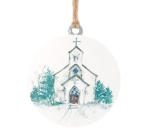 Large White Round Snowy Church Hanging Christmas Ornament 4.5 Inch from Burton & Burton