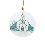 Large White Round Snowy Church Hanging Christmas Ornament 8x8 from Burton & Burton