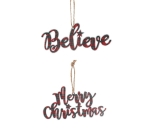 Set of 2 Tartan Plaid Script Word Galvanized Tin Christmas Ornaments (Merry Christmas & Believe)