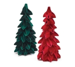 Set of 2 Red & Green Velvet Christmas Tree Figurines 14 Inch from Burton & Burton